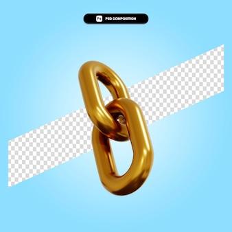 Illustration de rendu 3d de maillon de chaîne d'or isolé