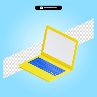 Illustration de rendu 3d pour ordinateur portable isolé