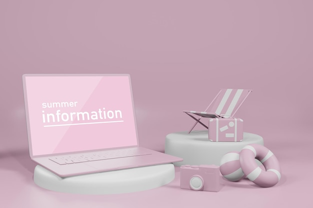 Illustration de rendu 3d de la vitrine d'affichage d'ordinateur portable de maquette d'été