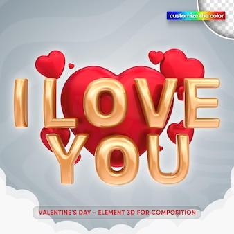 Illustration de la saint-valentin dans la maquette de rendu 3d
