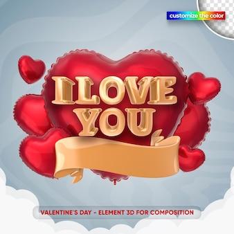 Illustration de la saint-valentin dans le rendu 3d