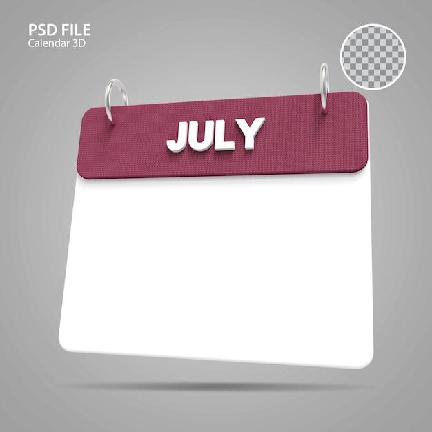 Illustrations 3d calendrier juillet