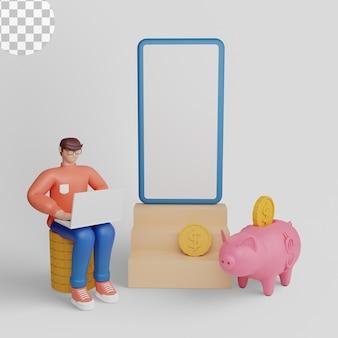 Illustrations 3d concept mobile de l'application finance