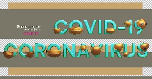 Illustrations 3d de divers chiffres et lettres avec covid-19