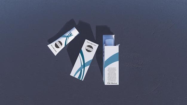 Image de maquette du rendu 3d de tubes et de boîtes en mousse blanche. couche d'objet intelligent pour personnaliser votre conception.