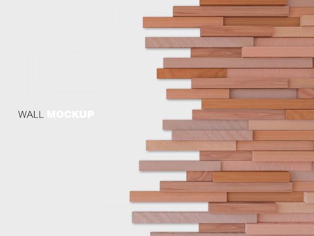 Image de rendu 3d du mur en bois