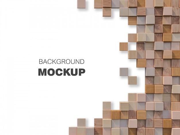Image de rendu 3d de mur en bois cubique