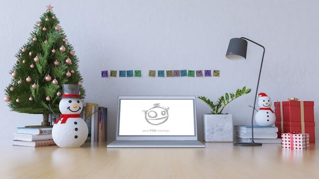 Image de rendu 3d de la table de travail au jour de noël