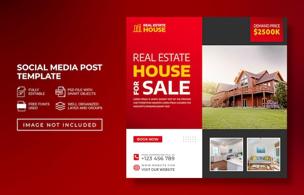 Immobilier maison propriété instagram post et bannière web publicitaire ou modèle flye