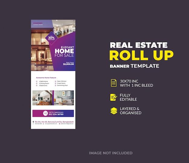 Immobilier roll up modèle de bannière