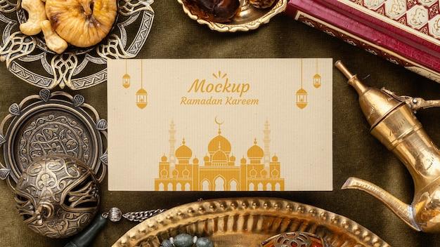 Imprimé ramadan avec vue de dessus du temple