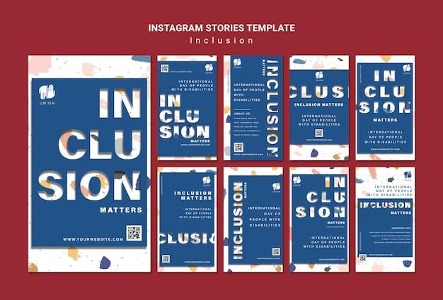 L'inclusion compte les histoires de médias sociaux