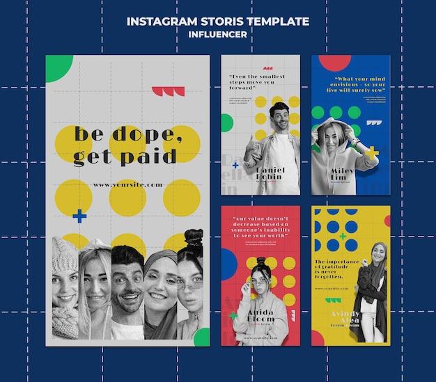 Influencer des histoires colorées sur les réseaux sociaux