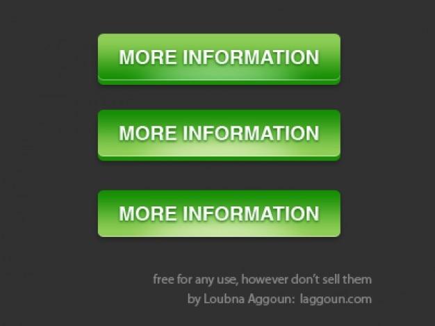 Information boutons verts psd matériau