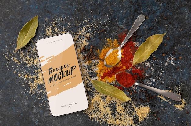 Ingrédients vue de dessus et smartphone