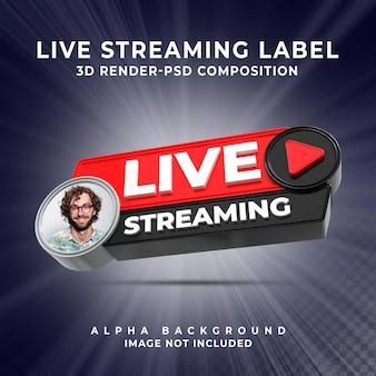 Insigne d'icône de rendu 3d de bannière de streaming en direct