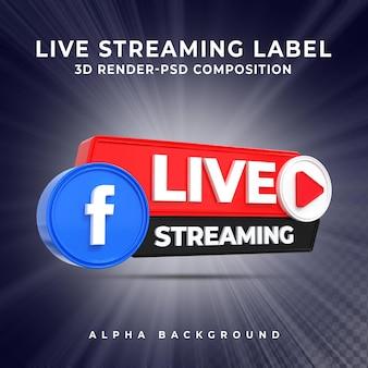Insigne d'icône de rendu 3d de diffusion en direct de facebook