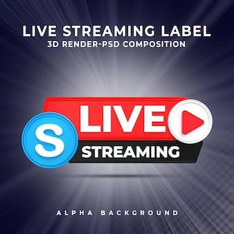 Insigne d'icône de rendu 3d de streaming en direct skype
