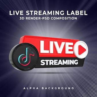 Insigne d'icône de rendu 3d en streaming en direct tiktok