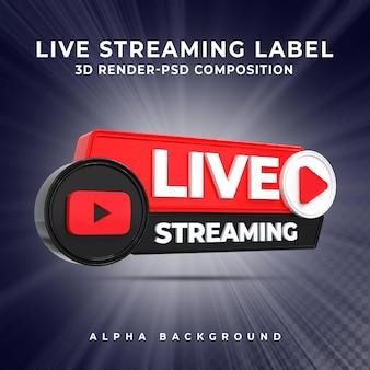 Insigne d'icône de rendu 3d en streaming en direct youtube