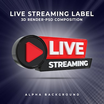 Insigne d'icône de rendu 3d en streaming en direct
