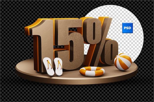 Insigne de réduction de vente d'été 3d de 15 pour cent isolé