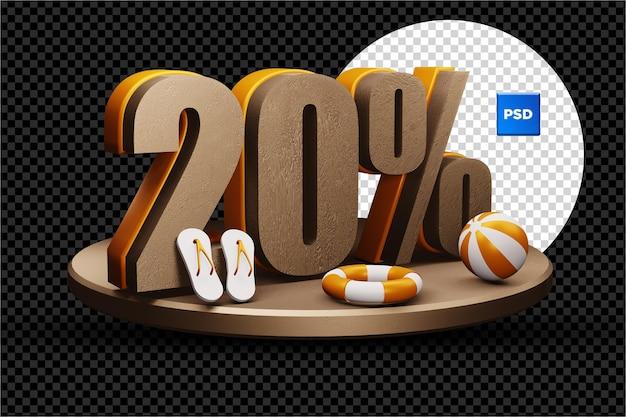 Insigne de réduction de vente d'été 3d de 20 pour cent isolé