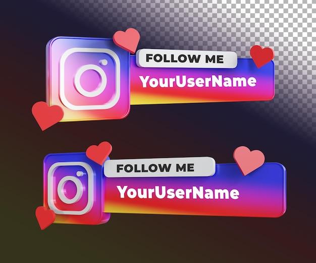 Instagram 3d suivez-moi étiquette avec modèle de texte