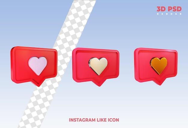Instagram aime ou facebook aime les notifications emoji icônes de rendu 3d isolés