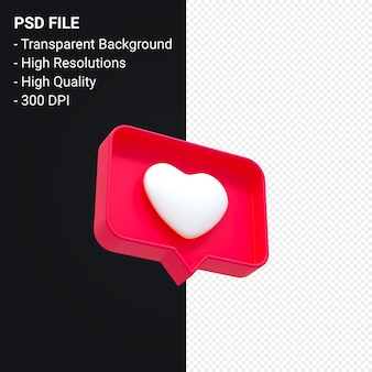 Instagram comme l'icône 3d ou facebook love emoji notifications rendu 3d isolé