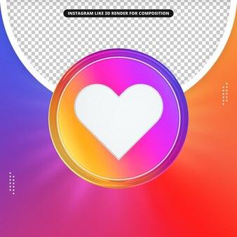 Instagram comme icône de rendu 3d pour compotision