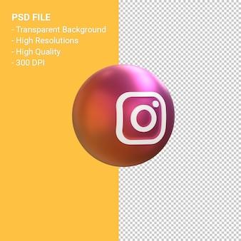 Instagram logo 3d ballon symbole rendu isolé