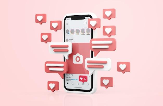 Instagram sur une maquette de téléphone portable blanc avec des icônes 3d