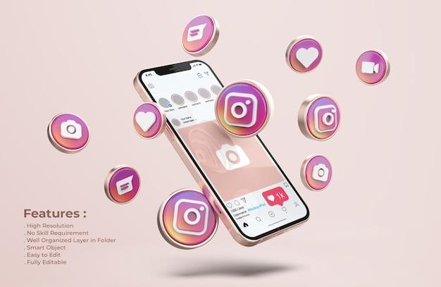 Instagram Sur Une Maquette De Téléphone Portable En Or Rose PSD Premium