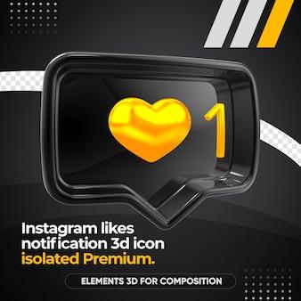 Instagram noir aime l'icône de notification gauche isolée
