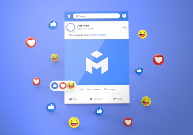 Interface 3d social media facebook avec des réactions emoji mockup