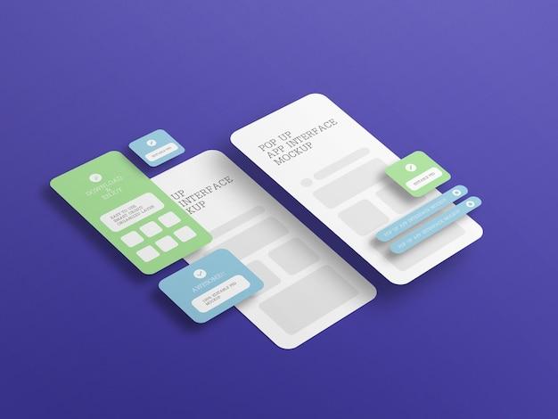 Interface d'application avec maquette d'écran contextuel