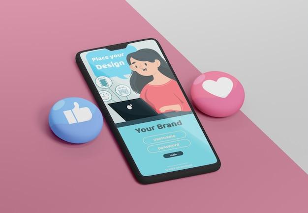 Interface de l'application de médias sociaux sur un appareil de maquette