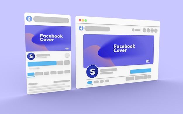 Interface facebook 3d avec site web pour la maquette de publication sur les réseaux sociaux