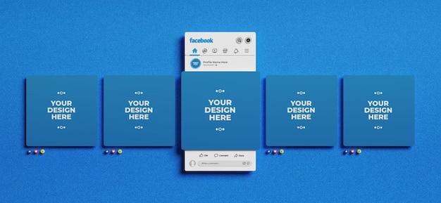 Interface facebook en rendu 3d avec des emojis pour la maquette de publication sur les médias sociaux