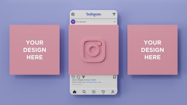 Interface de maquette instagram des médias sociaux et présentation de l'application ui ux