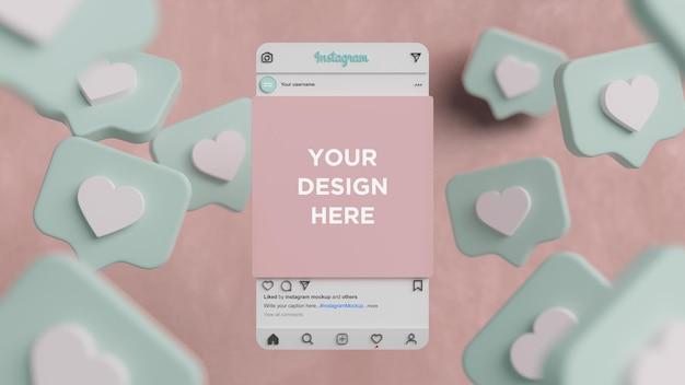 Interface de maquette d'instagram de rendu 3d de publication de médias sociaux