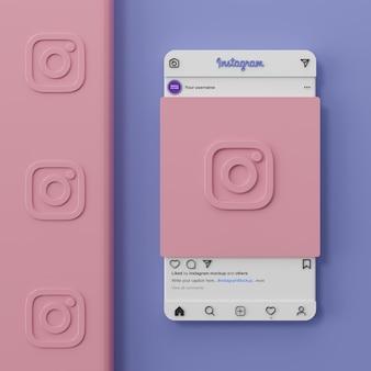 Interface de maquette de médias sociaux instagram et présentation de l'application ui ux