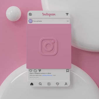 Interface de maquette de médias sociaux instagram et rendu 3d de présentation de l'application ui ux