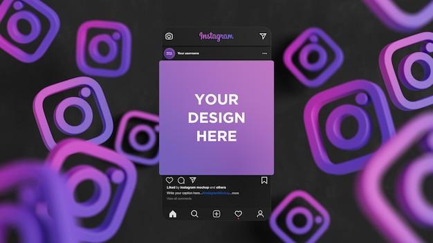 Interface en mode sombre de maquette de photo instagram pour la publication sur les réseaux sociaux