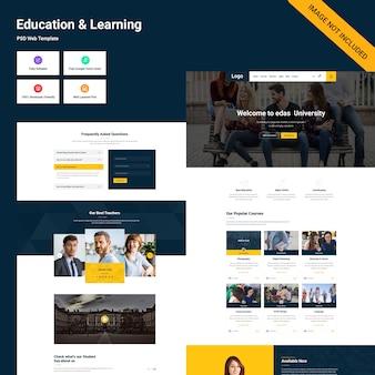 Interface utilisateur de la page éducation et apprentissage