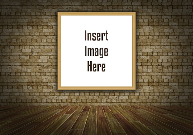 Intérieur 3d maquette avec cadre d'image vide sur le mur