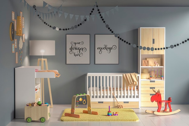 Intérieur de la chambre des enfants avec des cadres de maquette