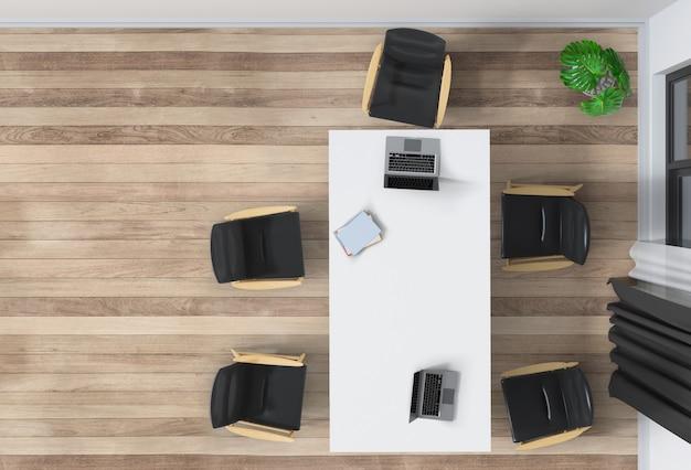 Intérieur du bureau avec vue de dessus d'ordinateur de bureau 3d