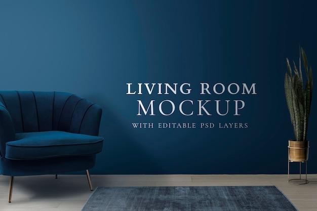 Intérieur du salon psd dans un style moderne bleu
